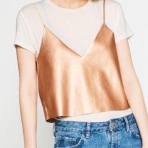 Zara Trafaluc Rose Gold Faux Leather Crop top